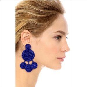 All Things Mochi Spanish Earrings Blue Beaded